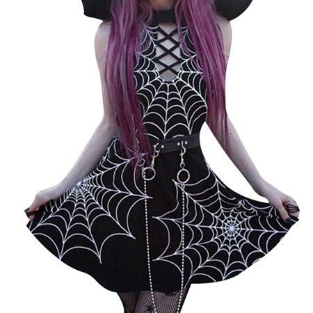 SHOPFIVE 2019 New Fashion Women Gothic Punk Sexy Halloween Party Cool Dress Spider Web Print Dress Halter Sleeveless Dress ( Not Include Belt