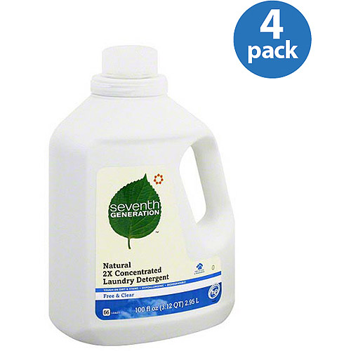Seventh Generation Free & Clear Natural 2X Concentrated Liquid Laundry Detergent, 100 fl oz, (Pack of 4)