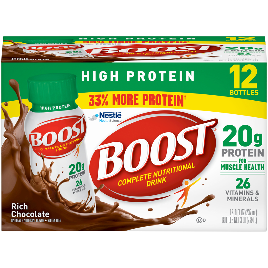 Boost High Protein Complete Nutritional Drink, Rich Chocolate, 8 Fl oz Bottle, 12 Count