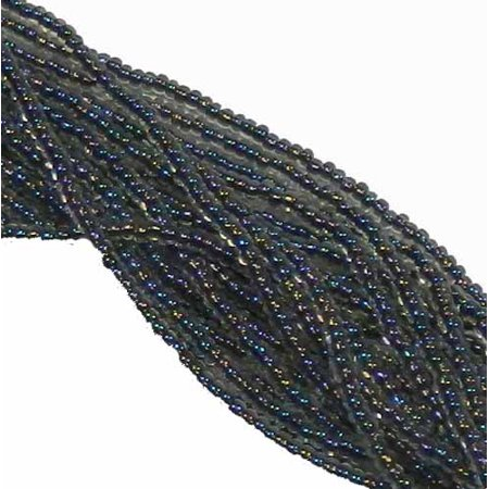 Black Lined Crystal Ab Preciosa Czech Glass 6/0, Loose Seed Beads, on Loose Strung 6 String Hank