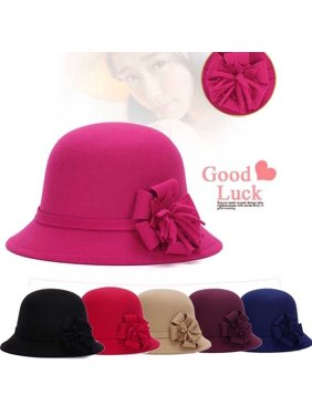 Product Image Women Autumn Winter Retro Fedora Bowler Wool Hat Street  Cold-proof Basic Cap f17f3aeb64eb