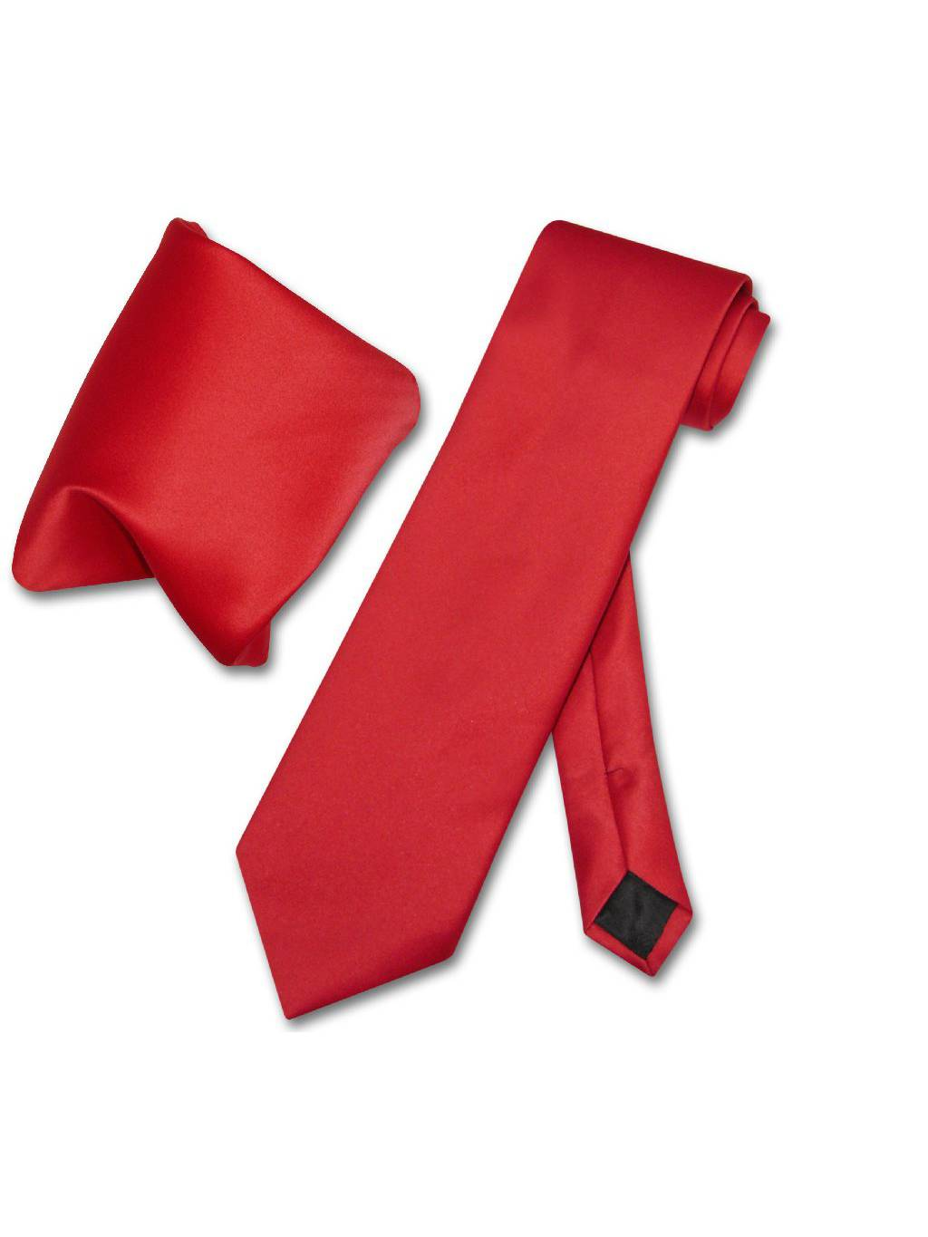 Vesuvio Napoli Solid RED Color NeckTie & Handkerchief Men's Neck Tie Set