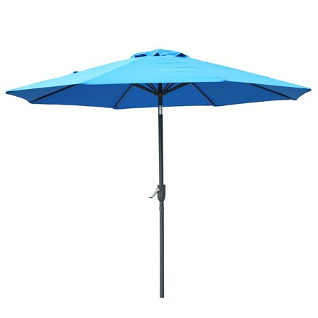 9ft Patio Outdoor Table Umbrella with Push Button Tilt and Crank, 8 Sturdy Ribs(Blue) ()
