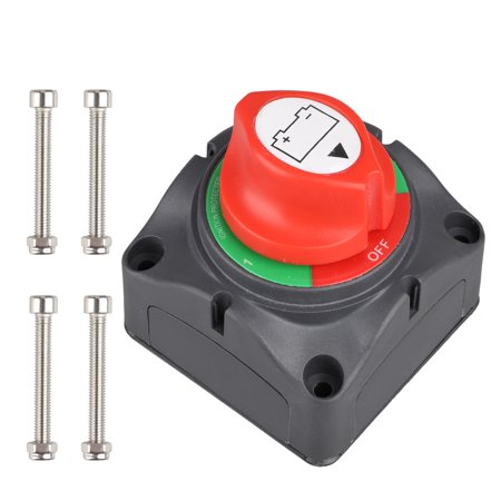 DC12-48V Dual Battery Disconnect Switch Kit 1-2-both-off Isolator Selector Marine Battery Switches 200/1000 Amp Waterproof for Ship Boat Small Yacht RV Camper Truck Car (1-2-Both-Off Switch) ()