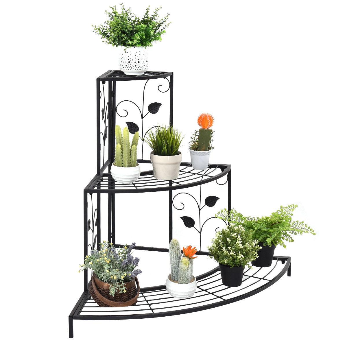 Costway 3 Tier Fl Corner Plant Stand Metal Flower Pot Rack Stair Display Ladder