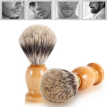 Qiilu 1Pc Men's Professional Wooden Handle Shaving Brush Faux Badger Hair Barber Beauty Tool, Barber Salon Tool,Shaving Brush - image 3 of 8