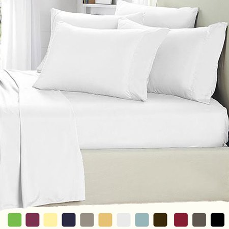 6 Piece Lux Decor Bed Sheets Set Ed Sheet With 4 Pillow Cases Stain Resistant Luxurious Comfortable Soft Extremely Durable King White