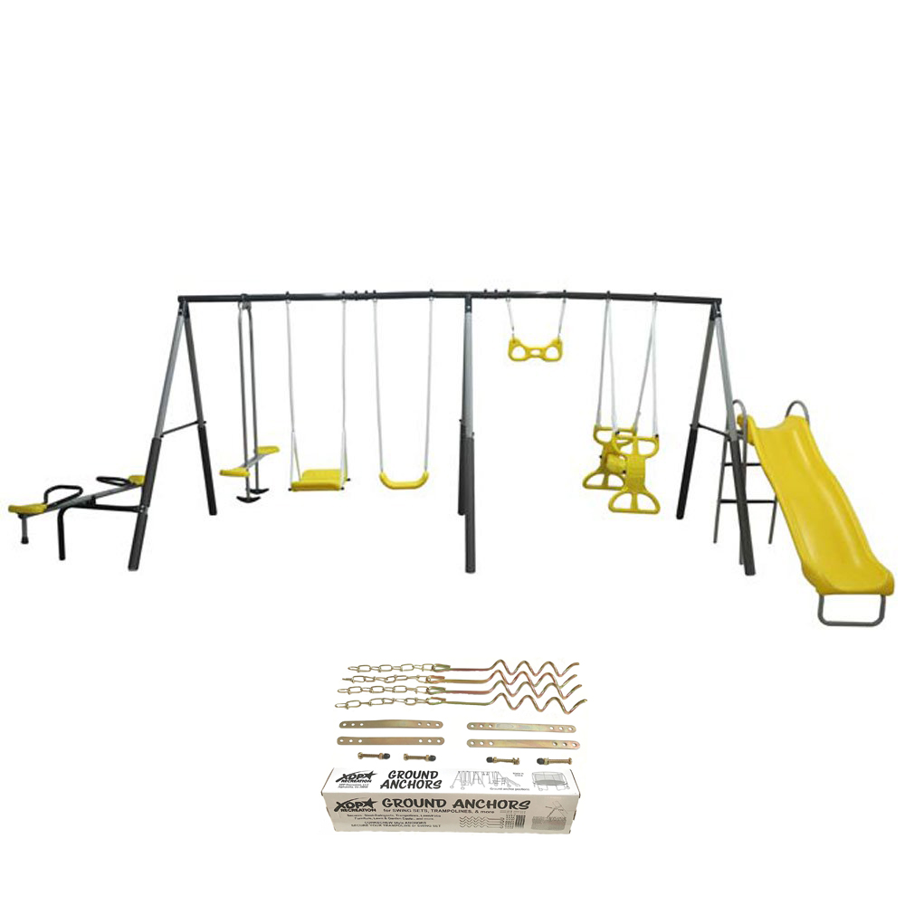 Xdp Recreation Rising Sun Kids Metal Outdoor Playground Swing Set