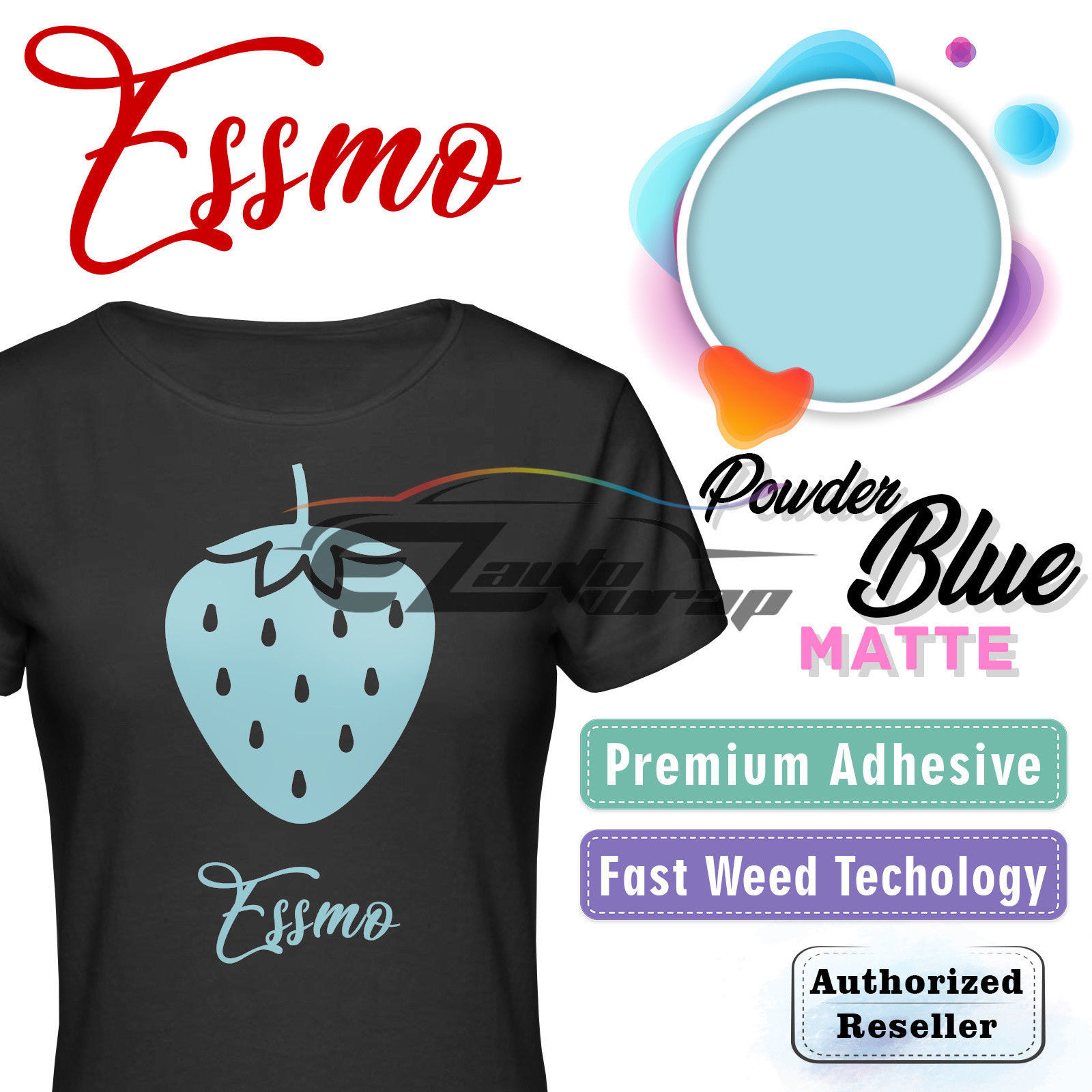 "ESSMO Powder Blue Matte Solid Heat Transfer Vinyl HTV Sheet T-Shirt 20"" Wide Iron On Heat Press 20""x12"""