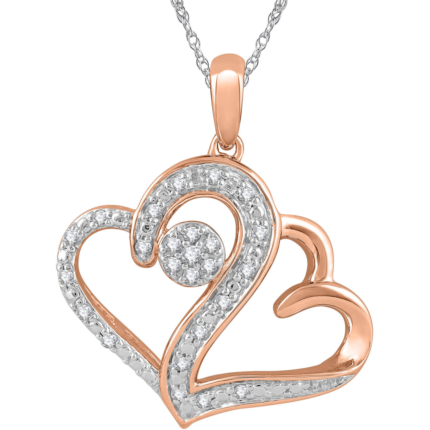 Heart 2 Heart 1/5 Carat T.W. Diamond 14kt Pink Gold over Sterling Silver Pendant with Chain, 18""