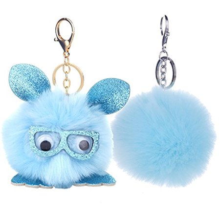 BodyJ4You 2PCS Faux Fur Keychain Blue Pom Pom Fluffy Fox Ball Purse Wallet Car Key Clasp Ring Set - Blue Lantern Ring For Sale