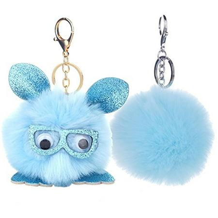 BodyJ4You 2PCS Faux Fur Keychain Blue Pom Pom Fluffy Fox Ball Purse Wallet Car Key Clasp Ring Set