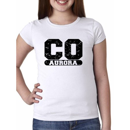 Aurora, Colorado CO Classic City State Sign Girl's Cotton Youth T-Shirt - City Of Aurora Co