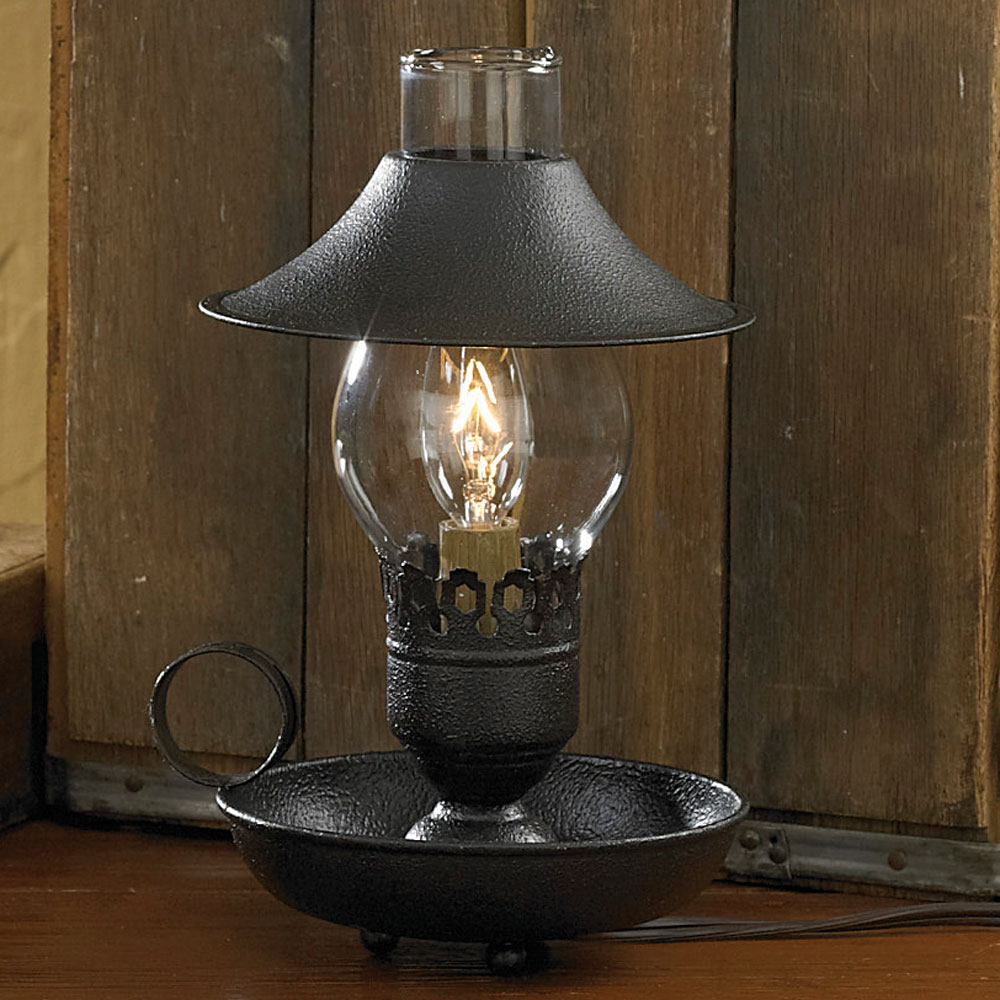 """Park Designs Chamberstick Lamp with Shade 9"""", Choice of Red or Black"""