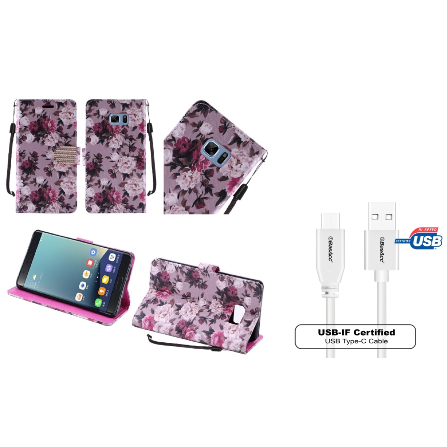aff50e7cce4a5d Insten Roses Leather Diamond Case with Lanyard For Samsung Galaxy Note 7 -  Purple White