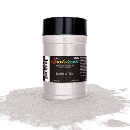U.S. Art Supply Jewelescent Luster White Mica Pearl Powder Pigment, 2 oz (57g) Bottle - Non-Toxic Metallic Color Dye