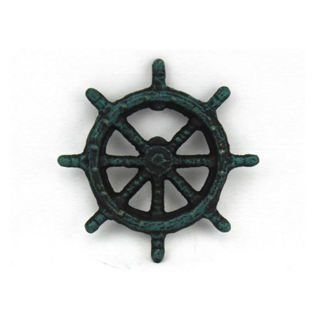Seaworn Blue Cast Iron Ship Wheel Bottle Opener 3.75