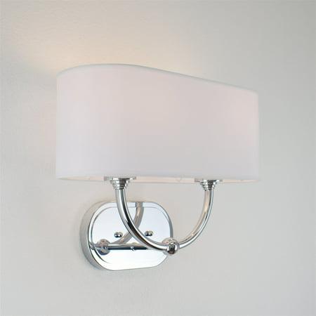 "Kira Home Hewitt 16"" Modern 2-Light Wall Sconce/Wall Light + Oval White Fabric Shade, Chrome Finish"