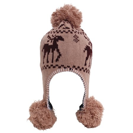 Women's Knit Double Layer Pompom Beanie with Ear Flaps Khaki Deer