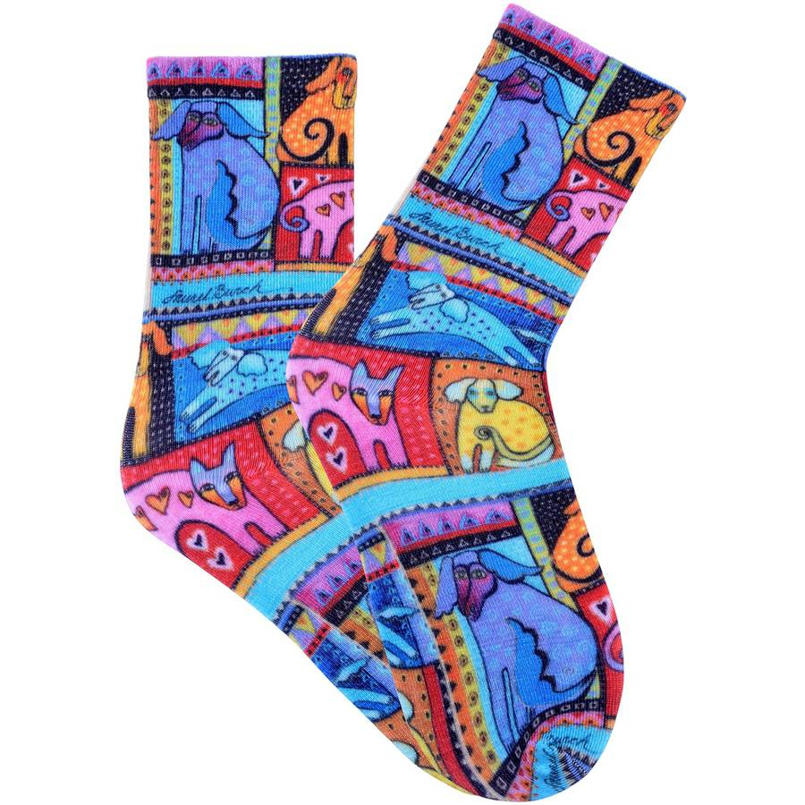 Laurel Burch Socks, Colorful Dogs, Red