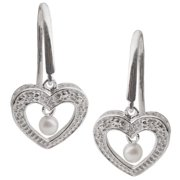 PearLustre by Imperial Pearls For You Sterling Silver White Freshwater Pearl and Diamond Accent Heart Dangle Earrings (2.5-3 mm)
