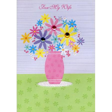 Designer Greetings Pink Flower Vase with Gems: Wife Easter Card