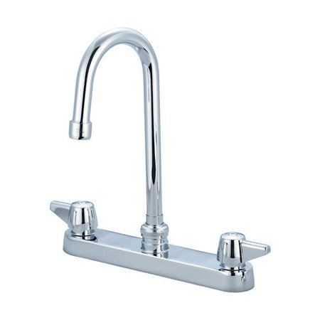 Central Brass 0122 Gsa Top Mounted Kitchen Faucet With 8 Inch Gooseneck Spout And Canopy Handles