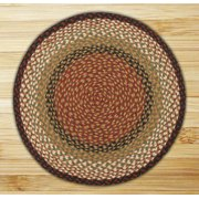 Earth Rugs C-19 Burgundy / Mustard Round Braided Rug 7.75 Feet x 7.75 Feet