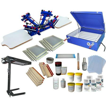 Techtongda 4 Color Screen Printing Kit Screen Printing Press T-shirt Hobby  Bundle DIY With Exposure Unit #006980