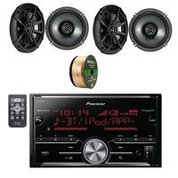 Pioneer Digital Media 2DIN Receiver with Bluetooth with Kicker 2-Way Car Audio Stereo Coaxial Speakers Black 2-Pairs & Enrock Audio 14 AWG Gauge 50 Feet Speaker Wire Cable - CCA Copper Clad Aluminum