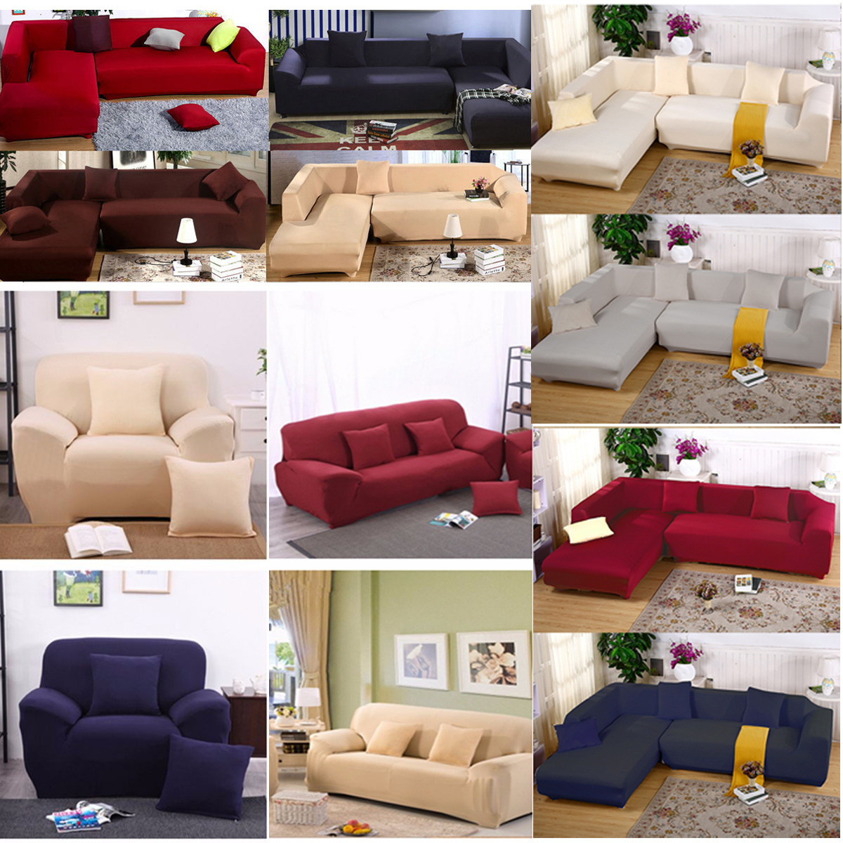 Stretch Sofa Slipcover - 1 2 3 Seater, 2 Seat +3 Seat/3 Seat +3 Seat L Shape Stretch Sofa Slipcover Couch Pure Color Anti Wrinkle Sofa Protector Furniture Slipcover For Moving Furn