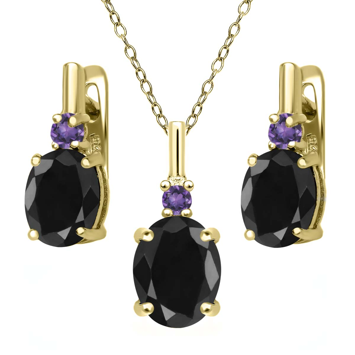 7.68 Ct Black Sapphire Purple Amethyst 18K Yellow Gold Plated Silver Pendant Earrings Set by