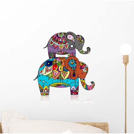 Ornate Elephant Wall Decal Wallmonkeys Peel and Stick Animal Graphics (12 in H x 12 in W) WM502500
