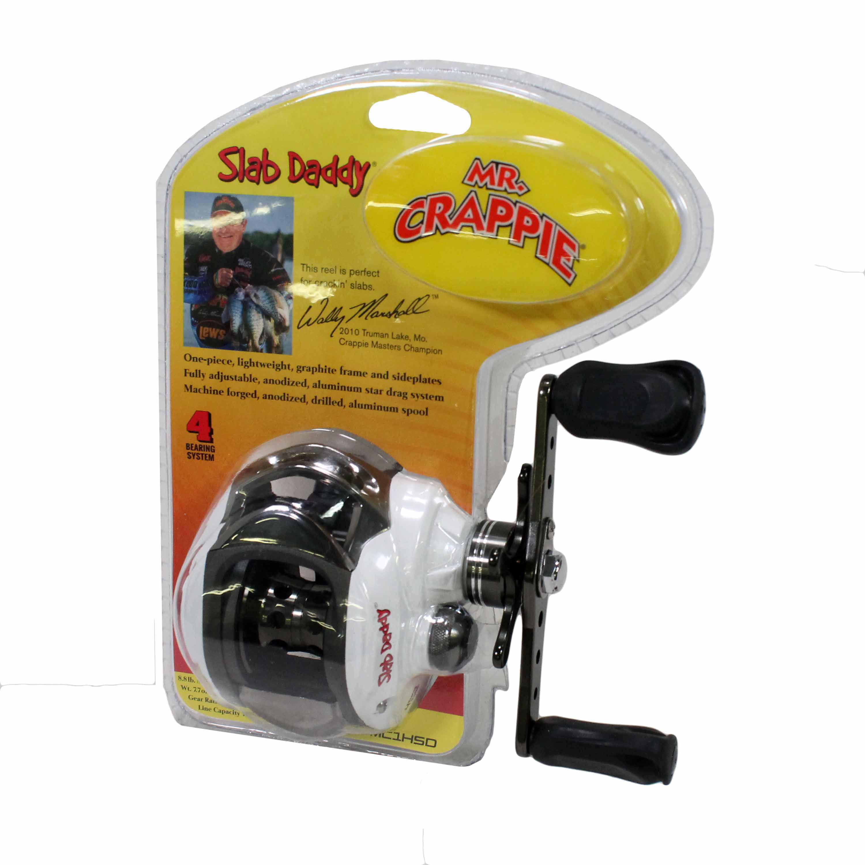 Lews Fishing Mr.Crappie Slab Daddy Baitcast Reel 6.3:1 Gear Ratio, 10 lb 175 Yards Line Capacity, Clam Package by Lews Fishing