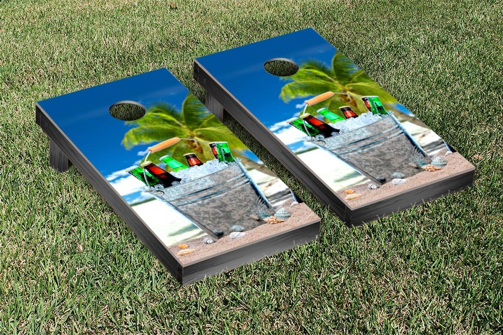 Beach & Beer Themed Cornhole Game Set by Victory Tailgate