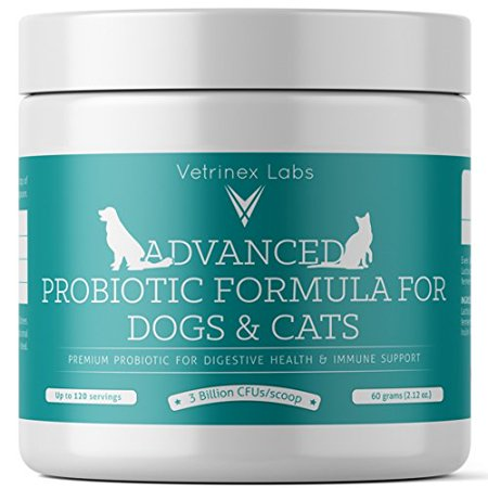 Vetrinex Labs Probiotics for Dogs and Cats with Prebiotic - 3 Billion CFU. 7 Strains - Best Supplement for Relief from Diarrhea, Skin & Yeast Infections,