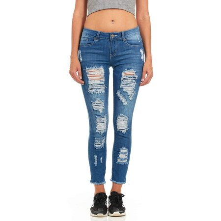 Cover Girl Mid-Rise Distressed Skinny Jeans for Women Juniors Size 7 Blue Step