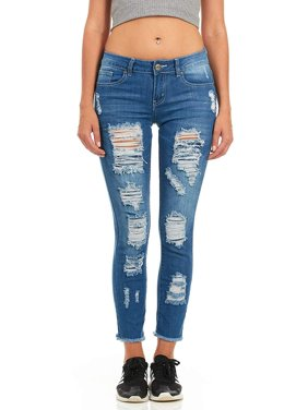 Cover Girl Mid-Rise Distressed Skinny Jeans for Women Juniors Size 7 Blue Step Hem