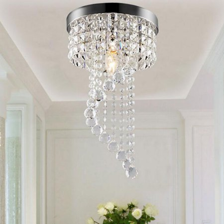 Moaere Round Flush Mount Ceiling Light Crystal Chandelier Modern Spectacular LED Spiral Sphere Rain Drop Pendant Lamp Fixture for Living (Elegant Ceiling Mounted Lamps)