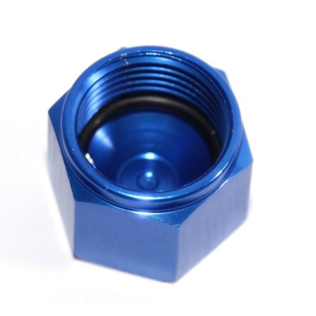 BLUE 8AN AN-8 Flare Cap Block Off Aluminum Anodized Fitting Anodized Block Off Plate