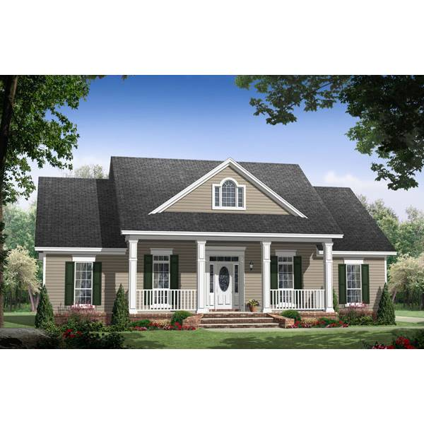 TheHouseDesigners-7028 Small Traditional Country House Plan with Slab Foundation (5 Printed Sets)