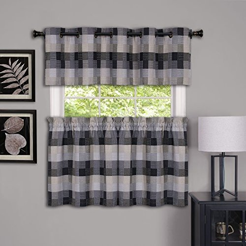 Park Avenue Collection Harvard - Valance w/10 Sm Grommets - 58x14 Black