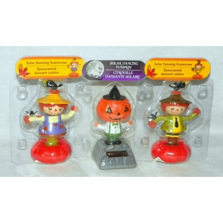 Solar Powered Moving Dancing Friends SCARECROWS (Boy & Girl) + PUMPKIN HEAD ~ Fall Halloween Thanksgiving (3 Pack)Make great gifts! By Greenbriar International