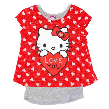 Hello Kitty Valentine (Hello Kitty Girls Red Love You 2fer Valentine Short Sleeve Tee Shirt)