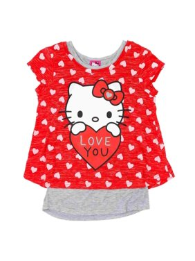 b3669a908 Product Image Hello Kitty Girls Red Love You 2fer Valentine Short Sleeve  Tee Shirt T-Shirt