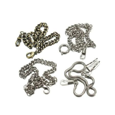 Mens Classic Vintage Style Fob Quartz Pocket Watch Chain Bronze / Silver (Watch Chain Fob)