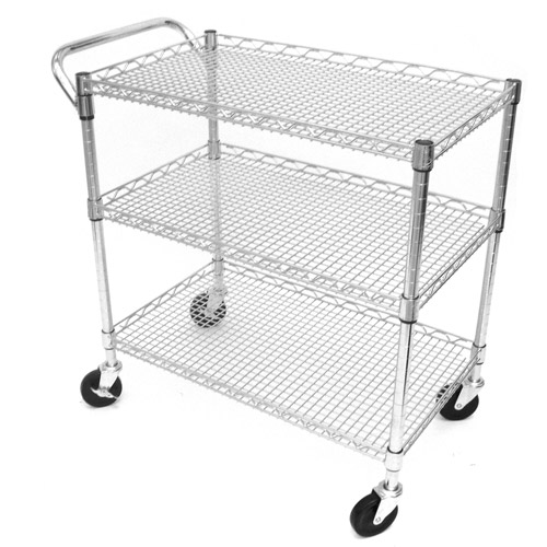Seville Classics 3-Shelf Commercial Utility Cart, SHE18304BZ