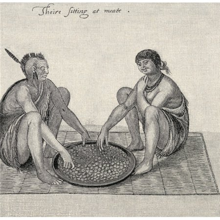 John White Drawings - Their Sitting At Meat Engraving From The Original Drawing Made In Raleighs Colony In 1585 By John White 1540-1606 Virginian Pioneer And English Colonist In America From The Book The Century Illustrate