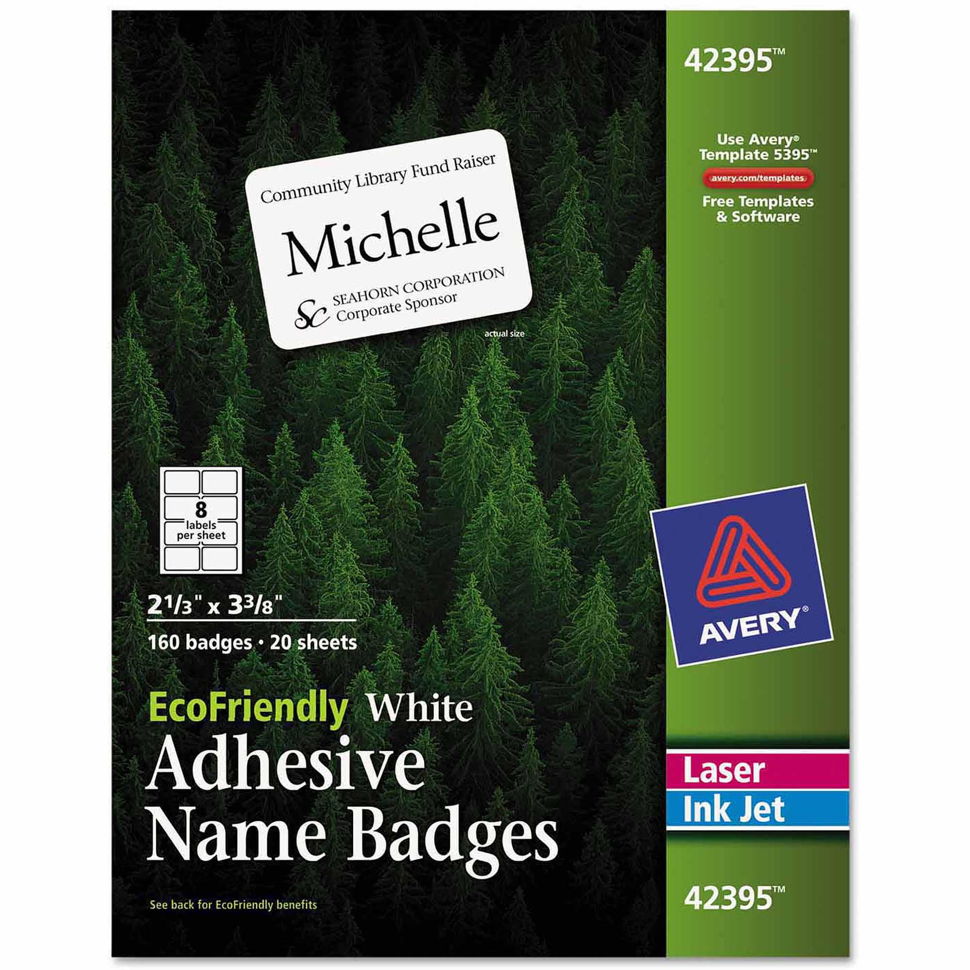 "Avery EcoFriendly Name Badge Labels, 2-1/3"" x 3-3/8"", White, 160-Pack"
