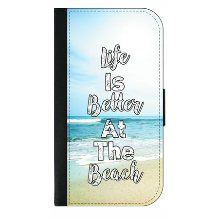 Life is Better At the Beach - Wallet Flip Style Phone Case Compatible with the Apple iPhone 7 Plus / Apple iPhone 8 Plus (7+,8+) Universal (Better Cell Phone Reception)